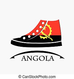 shoes icon made from the flag of Angola