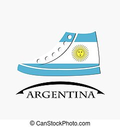 shoes icon made from the flag of argentina