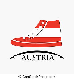 shoes icon made from the flag of Austria