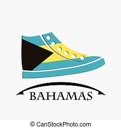 shoes icon made from the flag of Bahamas