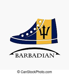 shoes icon made from the flag of Barbadian