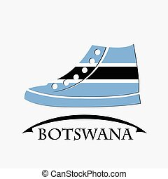shoes icon made from the flag of Botswana