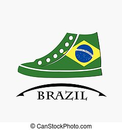 shoes icon made from the flag of brazil