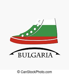 shoes icon made from the flag of Bulgaria