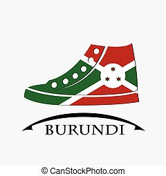shoes icon made from the flag of burundi