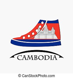 shoes icon made from the flag of Cambodia
