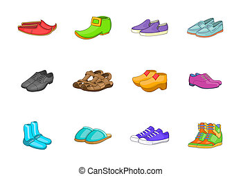 Shoes icon set, cartoon style