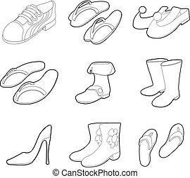 Shoes icon set, outline style