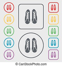 shoes icon sign. symbol on the Round and square buttons with frame. Vector