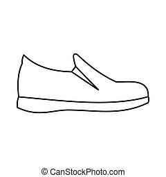 shoes, icono, contorno, estilo