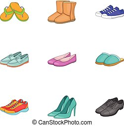 Shoes icons set, cartoon style