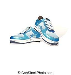 shoes., illustratie, sporten, realistisch, vector, paar