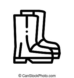 shoes, impermeable, material, gumboots, vector, icono