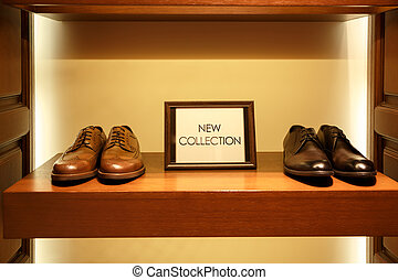 Shoes in man clothing shop