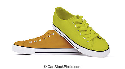 Shoes isolated on white background - Yellow and orange