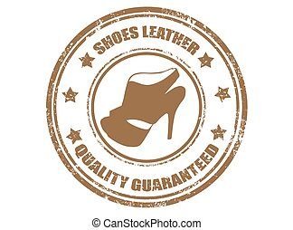 Shoes leather-stamp - Grunge rubber stamp with text shoes...