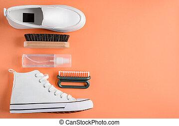 shoes, limpiador, plano de fondo, naranja, rociar, cepillos
