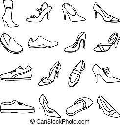 shoes line icons set