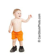 shoes., menino, pequeno, pai, bebê