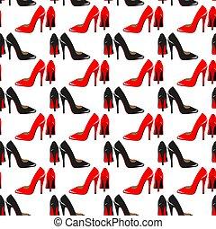 shoes, moda, seamless, shoes., rojo, patrón, plano de fondo, negro