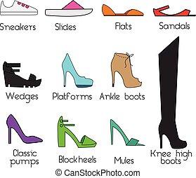 Shoes models for women. Vector icons set, design elements