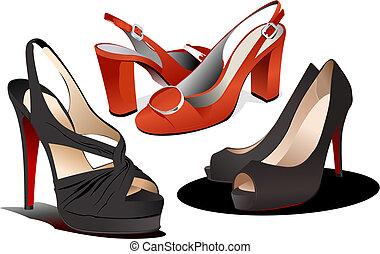 shoes., mujer, vector, moda, ilustración