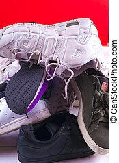 shoes., nagy, különböző, halom, sport