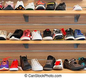 shoes., nagy, különböző, sport, gyűjtés