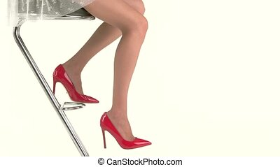 shoes., nogi, samica, czerwony
