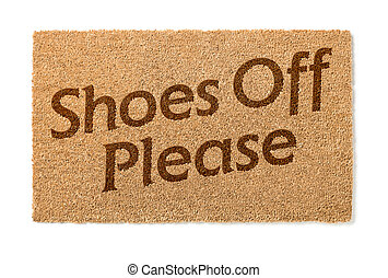 Shoes Off Welcome Mat On White