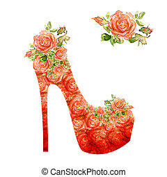 Shoes on a high heel decorated with roses. - Shoes on a high...