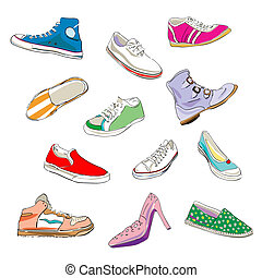 shoes over white - stylized shoes and sneakers over a white...