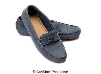 shoes., par, blå, mocka