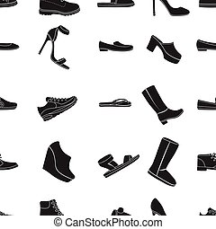 Shoes pattern icons in black style. Big collection of shoes vector symbol stock illustration