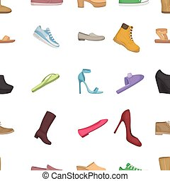 Shoes pattern icons in cartoon style. Big collection of shoes vector illustration symbol.