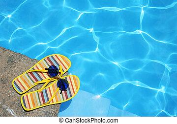 shoes, por, piscina