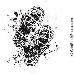 Shoes print ink blots - Grunge shoes print with ink blots...