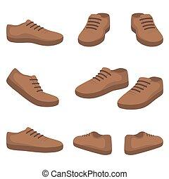 shoes., przód, wstecz, prospekt., samiec, bok