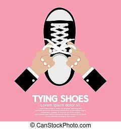 shoes., przywiązywanie