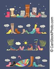 shoes., quattro, vario, collezione, stagioni