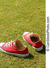 Shoes red on a green grass at the park.