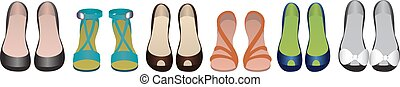 Shoes row isolated