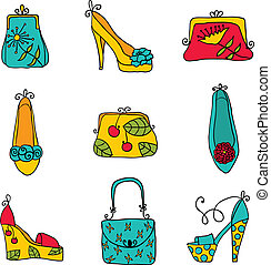 shoes., sacs, dames, mode, collection
