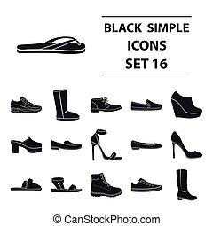 Shoes set icons in black style. Big collection shoes vector symbol stock illustration