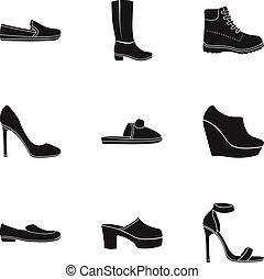 Shoes set icons in black style. Big collection of shoes vector symbol stock illustration