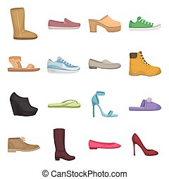 Shoes set icons in cartoon style. Big collection of shoes vector illustration symbol.