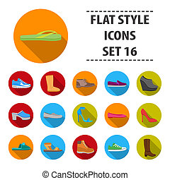 Shoes set icons in flat style. Big collection shoes bitmap,raster symbol stock illustration
