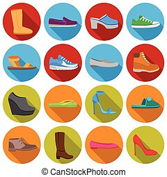 Shoes set icons in flat style. Big collection shoes vector symbol stock illustration