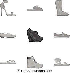 Shoes set icons in monochrome style. Big collection of shoes vector symbol stock illustration