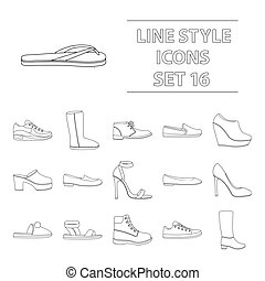 Shoes set icons in outline style. Big collection of shoes vector symbol stock illustration